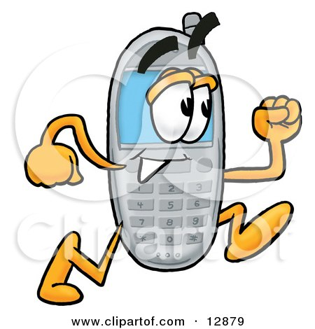 Clipart Picture of a Wireless Cellular Telephone Mascot Cartoon Character Running by Toons4Biz