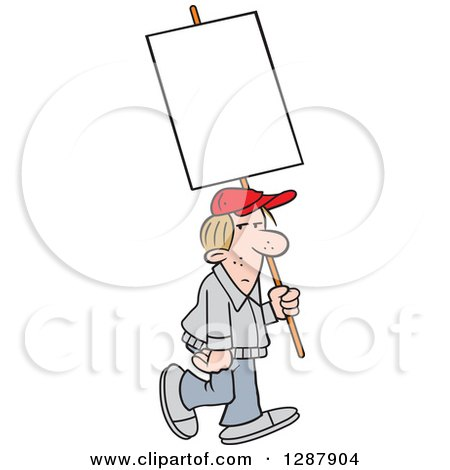 Clipart of a Dirty Blond Caucasian Man Walking with a Blank Sign - Royalty Free Vector Illustration by Johnny Sajem