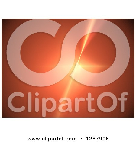 Clipart of a Background of a Bright Fractal Star Burst on Orange - Royalty Free Illustration by oboy