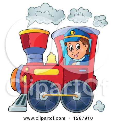 Clipart Of A Happy White Male Train Engineer Driving A Steam Engine Royalty Free Vector Illustration