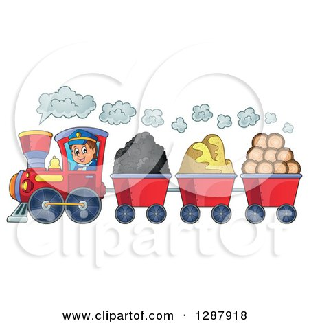 Clipart of a Happy White Male Train Engineer Driving a Steam Engine with Coal Sand and Lumber Carts - Royalty Free Vector Illustration by visekart