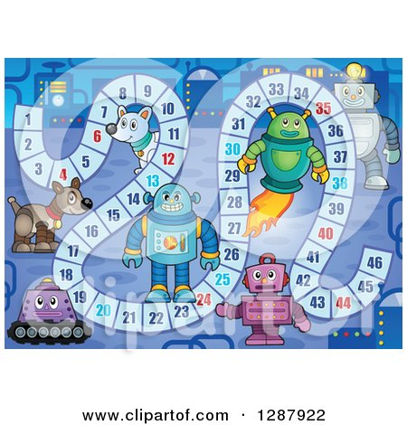 Clipart of a Game Board with Robots in a Factory - Royalty Free Vector Illustration by visekart