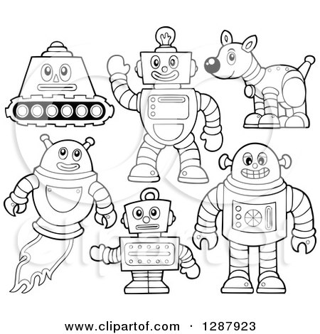 Clipart of Black and White Robots - Royalty Free Vector Illustration by visekart