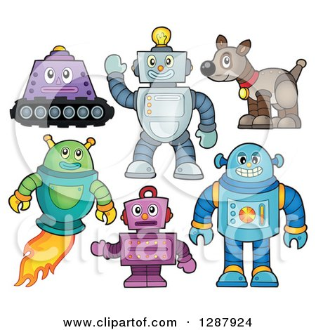 Clipart of Robots and a Dog - Royalty Free Vector Illustration by visekart