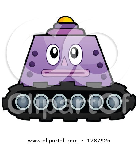 Clipart of a Purple Robot Tank Machine - Royalty Free Vector Illustration by visekart