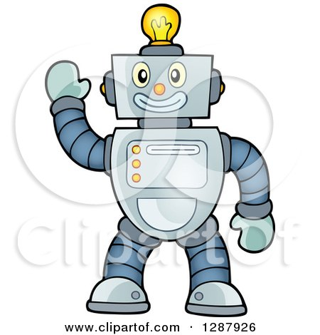 Clipart of a Friendly Waving Robot with a Light Bulb on His Head - Royalty Free Vector Illustration by visekart