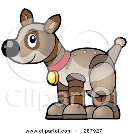 Clipart of a Brown Pet Robot Dog - Royalty Free Vector Illustration by visekart