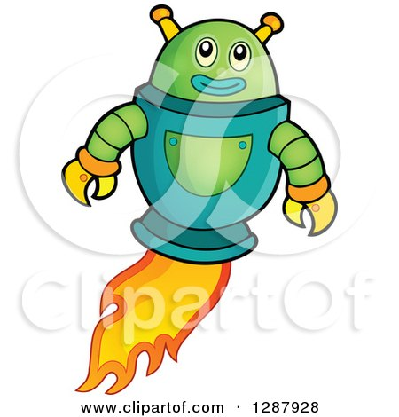 Clipart of a Green Robot Flying with a Flame Trail - Royalty Free Vector Illustration by visekart