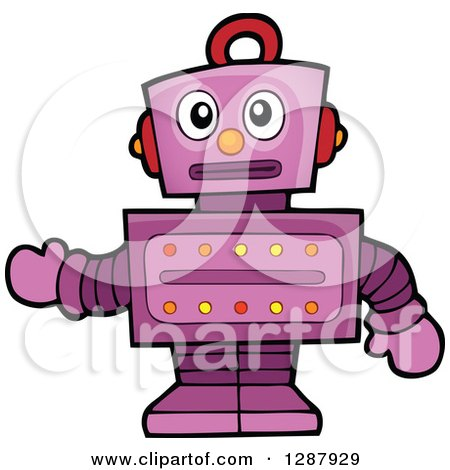 Clipart of a Worried Purple Robot Gesturing - Royalty Free Vector Illustration by visekart