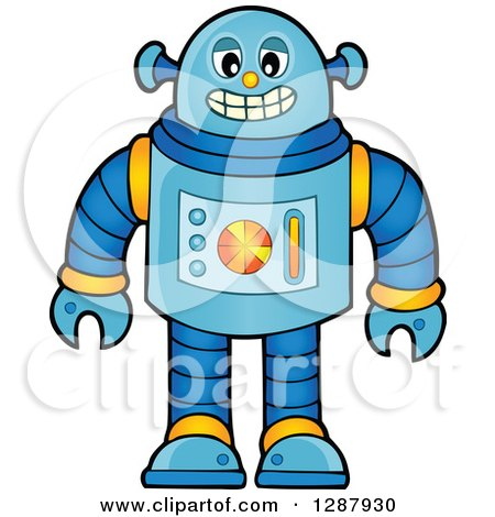 Clipart of a Grinning Blue Robot - Royalty Free Vector Illustration by visekart