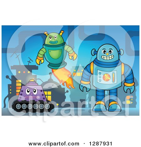 Clipart of Robots in a Factory - Royalty Free Vector Illustration by visekart