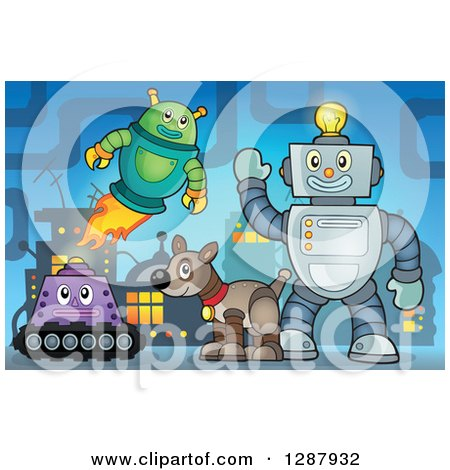 Clipart of Robots and a Dog in a Factory - Royalty Free Vector Illustration by visekart