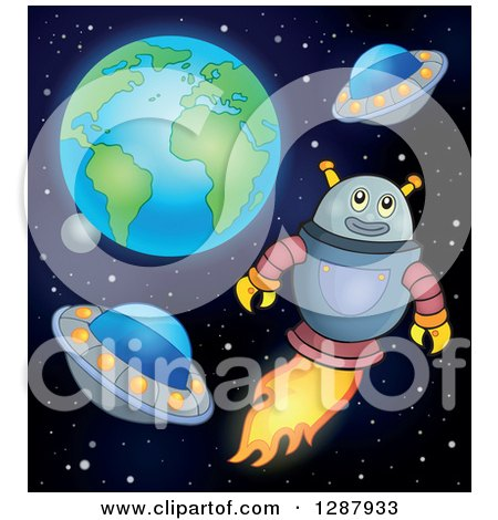 Clipart of a Robot Flying with Ufos in Outer Space - Royalty Free Vector Illustration by visekart