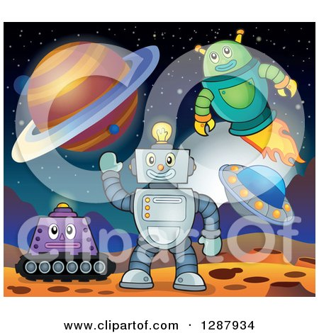 Clipart of Robots on a Foreign Planet - Royalty Free Vector Illustration by visekart