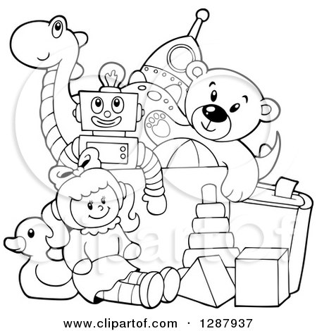 Clipart of a Black and White Box of Toys - Royalty Free Vector Illustration by visekart
