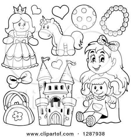 Clipart of Black and White Girls Toys - Royalty Free Vector Illustration by visekart