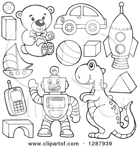 Clipart of Black and White Shapes, Balls, Robots and Toys - Royalty Free Vector Illustration by visekart