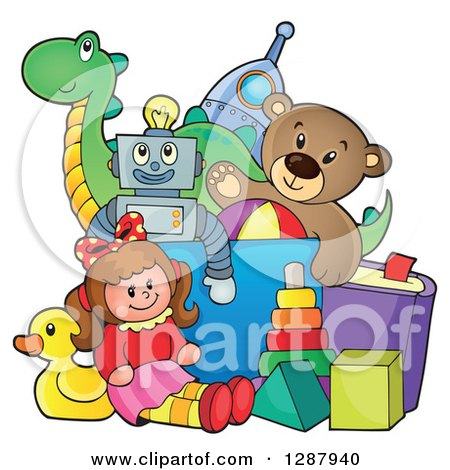 Clipart of a Box Overflowing with Childrens Toys - Royalty Free Vector Illustration by visekart