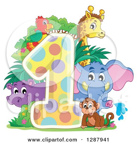 Clipart of a Colorful Number One with a Cute Monkey Elephant Giraffe Parrot and Hippo - Royalty Free Vector Illustration by visekart