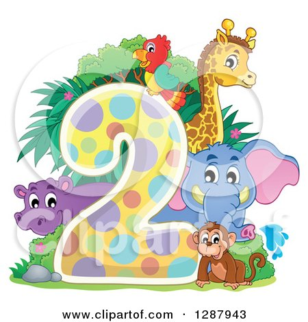Clipart of a Colorful Number Two with a Cute Monkey Elephant Giraffe Parrot and Hippo - Royalty Free Vector Illustration by visekart