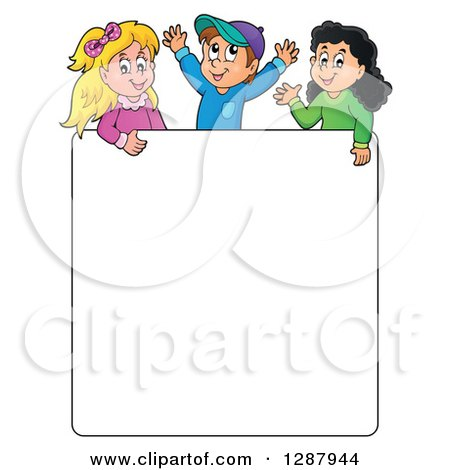 Clipart of a Blank White Sign Board with Happy Children Above - Royalty Free Vector Illustration by visekart