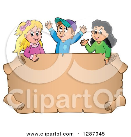 Clipart of a Blank Parchment Scroll Sign with Happy Caucasian and Hispanic Children Above - Royalty Free Vector Illustration by visekart