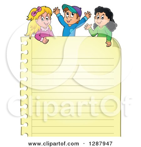 Clipart of a Yellow Ruled Page and Happy Caucasian and Hispanic Children - Royalty Free Vector Illustration by visekart