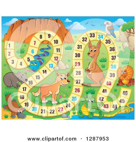 Clipart of a Numbered Board Game with Australian Animals - Royalty Free Vector Illustration by visekart