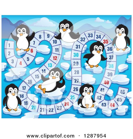 Clipart of a Numbered Board Game with Cute Penguins and Ice - Royalty Free Vector Illustration by visekart