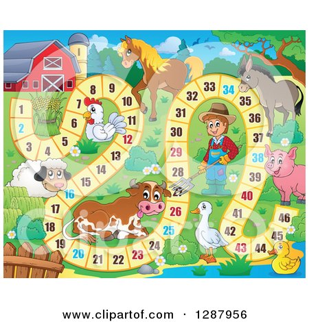 Clipart of a Numbered Board Game with a Farmer and Animals - Royalty Free Vector Illustration by visekart