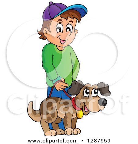 Clipart of a Happy Brunette Caucasian Boy Walking His Pet Dog - Royalty Free Vector Illustration by visekart