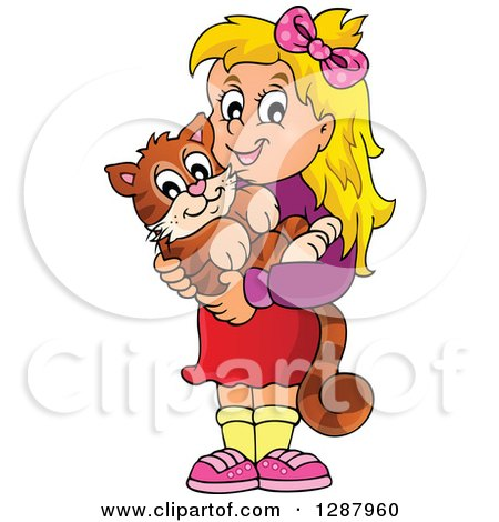 Clipart of a Happy Blond Caucasian Girl Holding Her Pet Cat - Royalty Free Vector Illustration by visekart