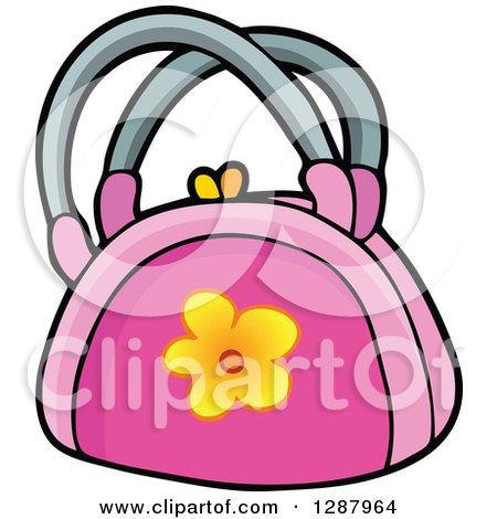 Clipart of a Pink Purse with a Yellow Flower - Royalty Free Vector Illustration by visekart