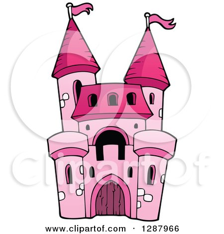 Clipart of a Pink Castle Girls Toy - Royalty Free Vector Illustration by visekart