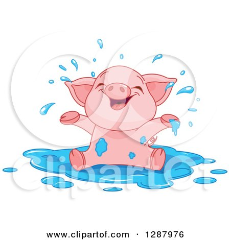 Cute Animal Clipart of a Cute Baby Piglet Playing in a Puddle of Water - Royalty Free Vector Illustration by Pushkin