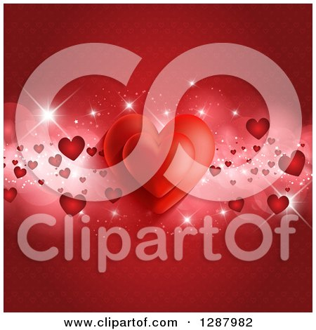 Clipart Of A Red Valentines Day Background Of Hearts And Flares Over A Pattern Royalty Free Vector Illustration