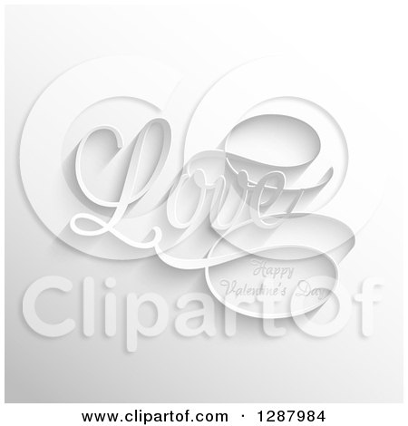Clipart of 3d White Love Happy Valentines Day Text over Gray - Royalty Free Vector Illustration by KJ Pargeter
