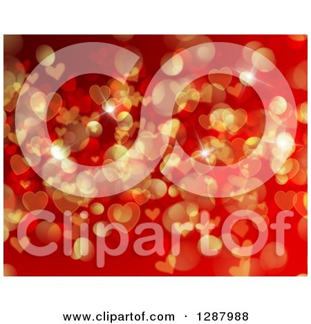 Clipart of a Background of Red and Gold Flares and Valentine Heart Bokeh - Royalty Free Vector Illustration by KJ Pargeter