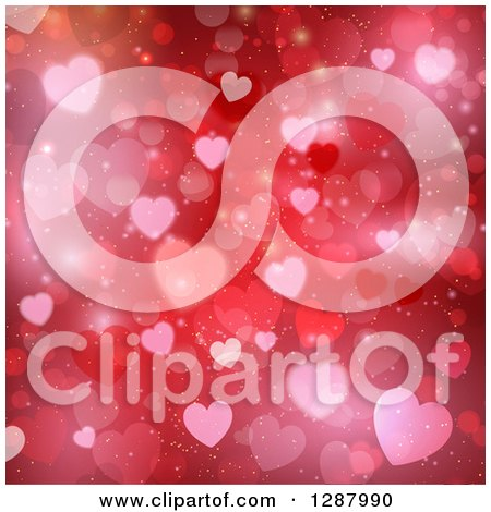 Clipart of a Valentines Day Background of Red Flares and Heart Bokeh - Royalty Free Vector Illustration by KJ Pargeter