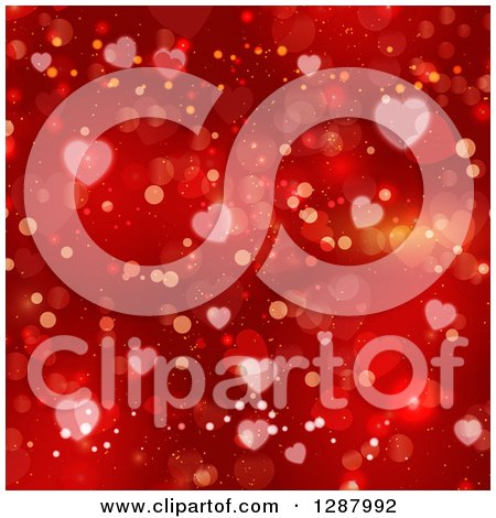 Clipart of a Background of Red Flares and Valentine Heart Bokeh - Royalty Free Vector Illustration by KJ Pargeter