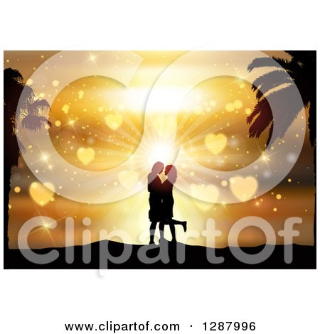 Clipart of a Silhouetted Couple Kissing in Against a Golden Heart Tropical Sunset - Royalty Free Vector Illustration by KJ Pargeter