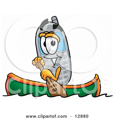 Clipart Picture of a Wireless Cellular Telephone Mascot Cartoon Character Rowing a Boat by Toons4Biz