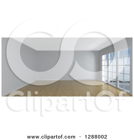 Clipart of a 3d Empty White Room Interior with Floor to Ceiling Windows and Wood Flooring - Royalty Free Illustration by KJ Pargeter