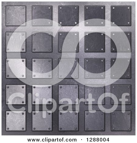 Clipart of a 3d Background of Metal Squares - Royalty Free Illustration by KJ Pargeter