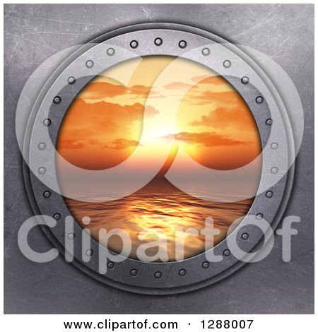 Clipart of a 3d Metal Porthole with a View of an Orange Ocean Sunset - Royalty Free Illustration by KJ Pargeter