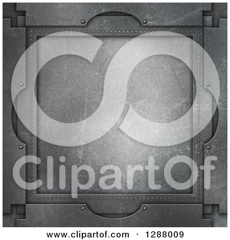 Clipart of a 3d Scratched Metal Frame Background - Royalty Free Illustration by KJ Pargeter
