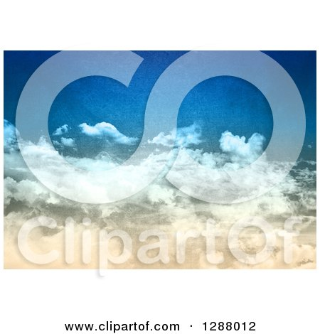 Clipart of a Distressed Textured Blue Sky with Clouds - Royalty Free Illustration by KJ Pargeter
