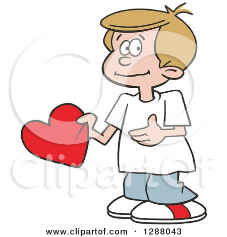 Holiday Clipart of a Sweet Caucasian Boy Holding a Valentine Heart - Royalty Free Vector Illustration by Johnny Sajem