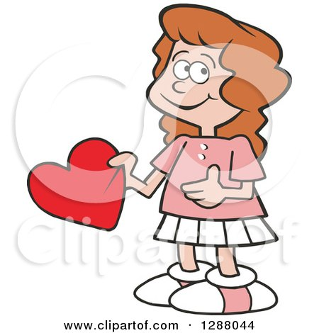 Holiday Clipart of a Sweet Caucasian Girl Holding a Valentine Heart - Royalty Free Vector Illustration by Johnny Sajem