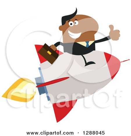 Clipart of a Modern Flat Design of a Black Businessman Holding a Thumb up and Flying on a Rocket - Royalty Free Vector Illustration by Hit Toon